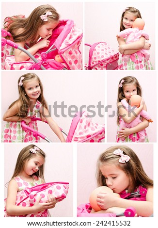 Collection of photos cute smiling little girl playing with her toy carriage and doll at home - stock photo