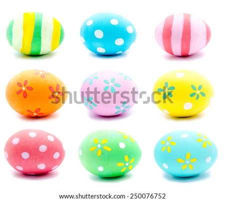 Collection of photos painted handmade easter eggs isolated on a white - stock photo