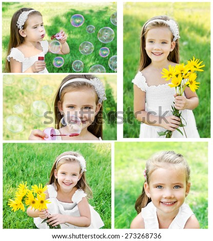 Collection of photos portrait of adorable smiling little girl in summer day  - stock photo