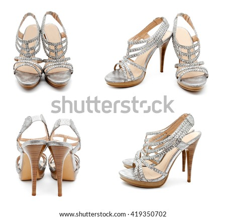 Collection of photos silver high heel women shoe isolated on white a background - stock photo