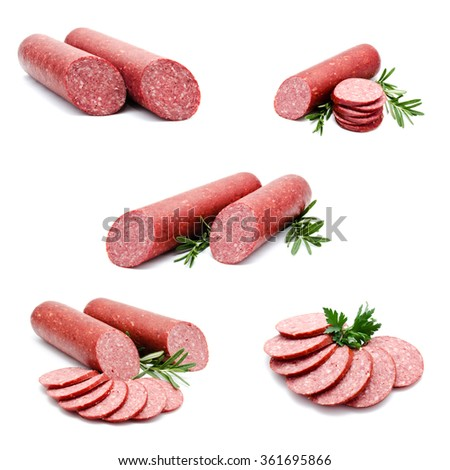 Collection of photos smoked sausage salami isolated on a white background