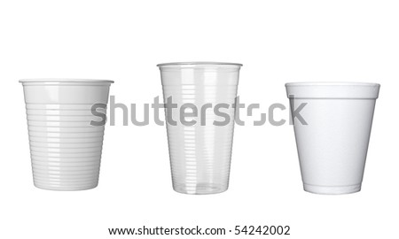 collection of plastic cups of coffee on white background. each one is in full cameras resolution - stock photo