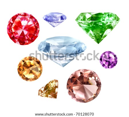 Collection of precious diamonds isolated on white background - stock photo