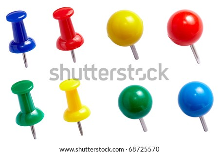 collection of push pins. each one is shot separately - stock photo