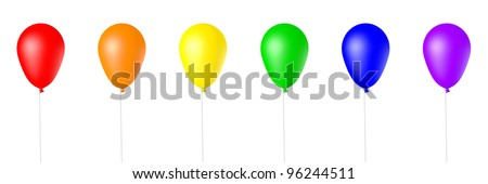 Collection of Rainbow Colored, 3d Rendered Balloons on a White Background - stock photo