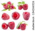Collection of Raspberry isolated on white background - stock photo