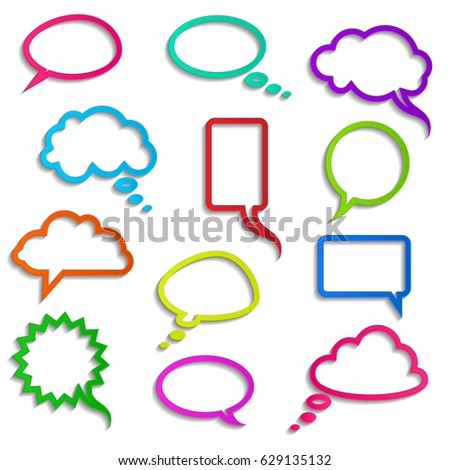 collection of realistic colored speech bubbles