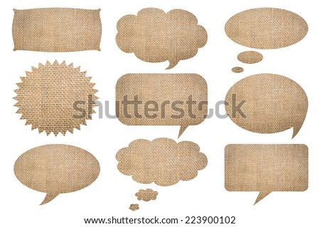 Collection of recycle paper speech bubbles and a sack and some other useful things isolated on white background with clipping path.Burlap texture background  - stock photo