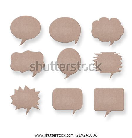 collection of recycle paper speech bubbles and some other useful things isolated on white background with clipping path