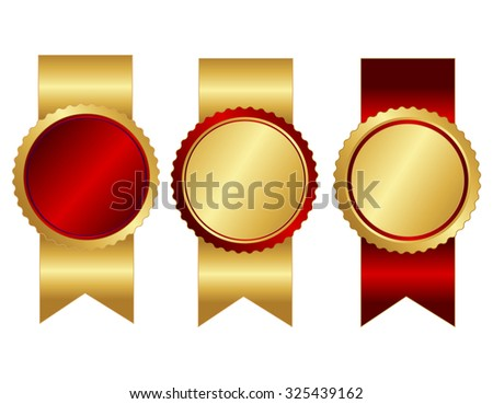 Collection of red and gold blank stamp with shiny ribbons