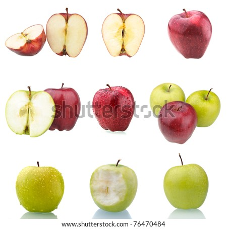 Collection of red and green apples isolated on white. These and other fruits are also available in full size in my portfolio.
