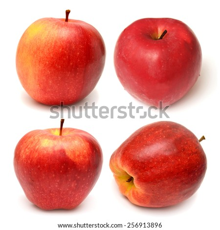 Collection of red apples isolated on white background - stock photo