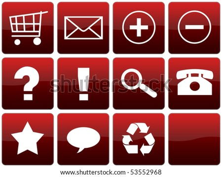 Collection of red glossy web icons. - stock photo