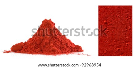 Collection of red powder isolated on white - stock photo
