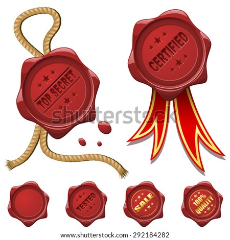 Collection of red wax seals isolated on white. - stock photo