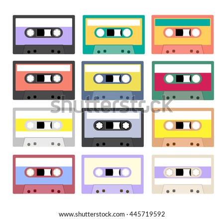 Collection of retro plastic audio cassettes, music cassettes, cassette tapes. Isolated on white background. Old technology tape cassettes.