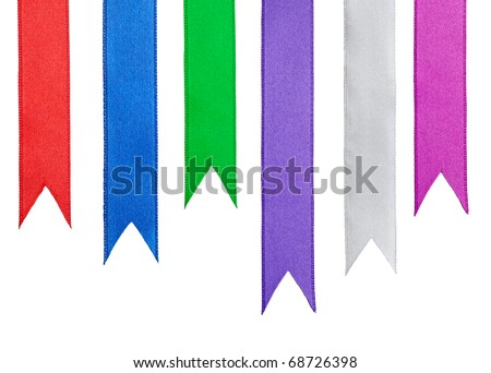 collection of ribbon pieces on white background. each one is shot separately - stock photo