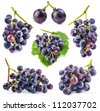 Collection of Ripe grapes, Isolated on white background - stock photo