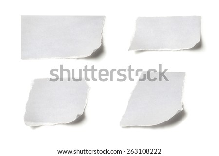 collection of ripped white paper note on white background - stock photo