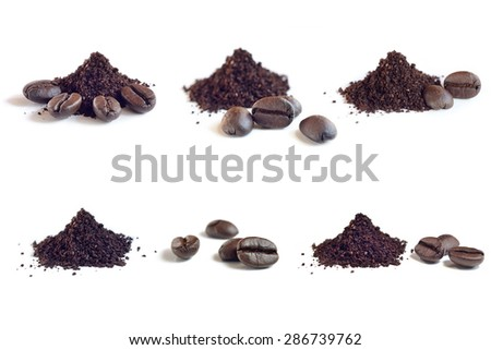 Collection of Roast and ground coffee ,coffee beans - stock photo