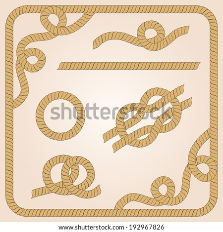 Collection of rope templates with knots, corners and frames - stock photo