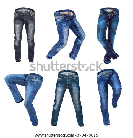 collection of running jeans on isolated white background - stock photo