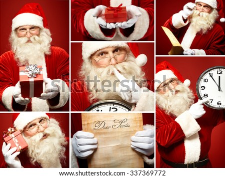 Collection of Santa Claus images - stock photo