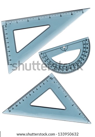 collection of school supplies including a ruler, protractor, angle, triangle and square. Isolated on a white background.
