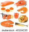 collection of seafood, red fish, red caviar close up isolated over white background - stock photo