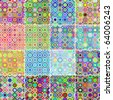 Collection of 16 seamless circular patterns (raster version) - stock photo