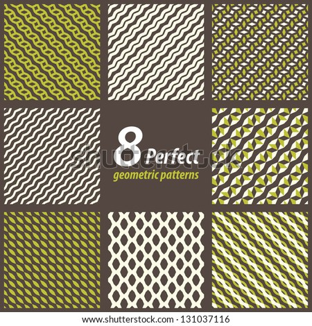 Collection of 8 seamless geometric patterns. Raster version of Vector set. - stock photo