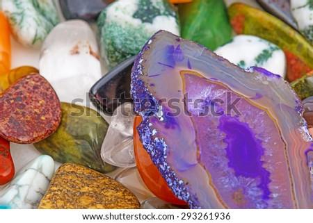 collection of semiprecious natural stones - stock photo