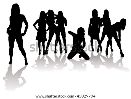 Collection of sexy women in silhouette with black figures and shadow