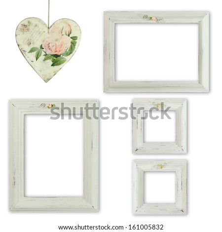 Collection of shabby chic distressed picture frames - stock photo