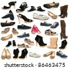 collection of shoe on a white background - stock photo
