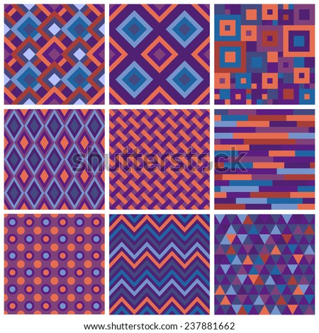 Collection of simple seamless patterns with geometric ornament. Colorful zig zag, argyle, triangles and squares mosaic tileable backgrounds