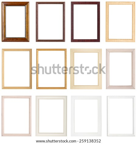 collection of simple wooden picture frames, isolated on white - stock photo