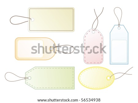 Collection of six blank price tags for your design. (vector also available)