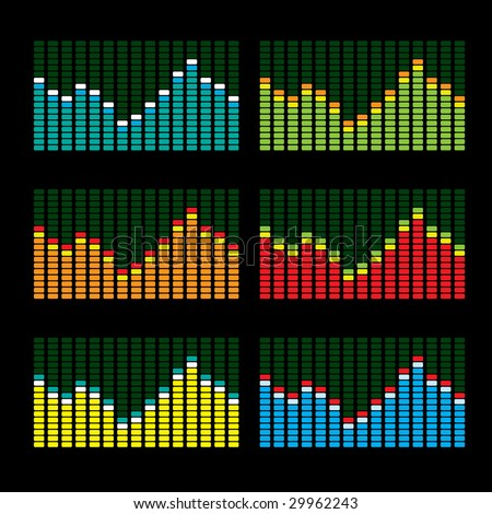 Collection of six graphic equalisers in various color variations - stock photo