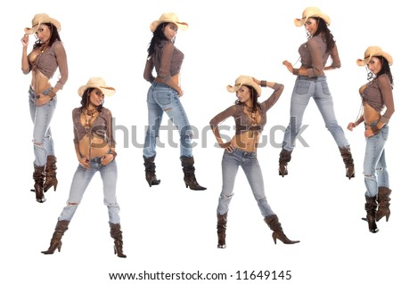 Collection of six poses of a sexy young cowgirl in a hat, jeans and boots - stock photo