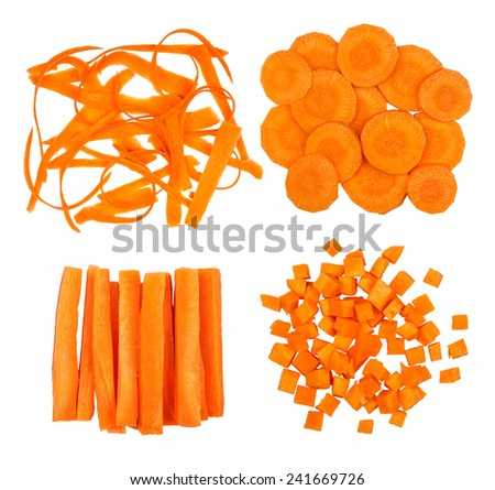 collection of slices of carrot isolated on white background - stock photo