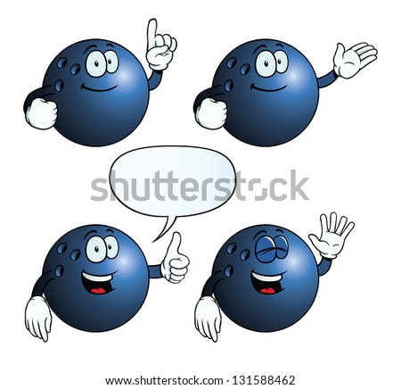 Collection of smiling bowling balls with various gestures. - stock photo