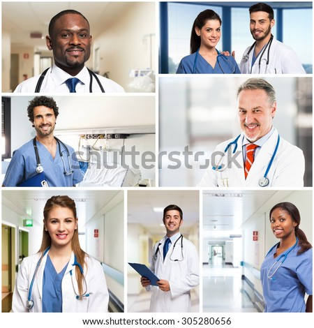 Collection of smiling doctor and nurses portraits - stock photo
