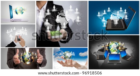 Collection of  social networking concept - stock photo