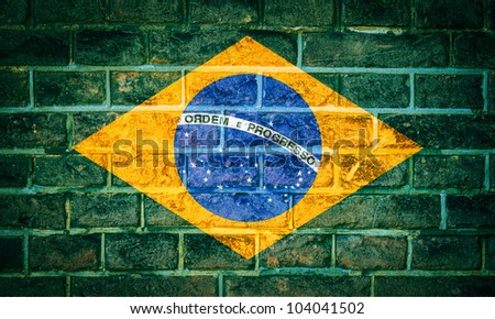 Collection of South America flag on old brick wall texture background, Brazil - stock photo