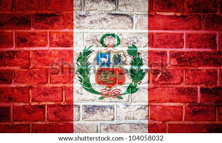 Collection of South America flag on old brick wall texture background, Peru - stock photo