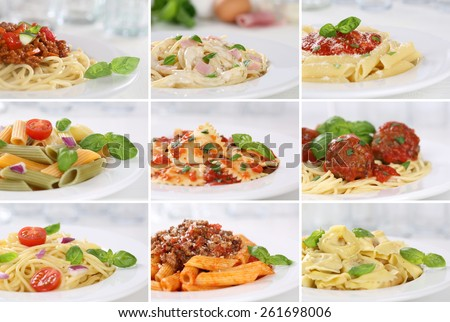Collection of spaghetti pasta noodles food meals with tomatoes and basil - stock photo
