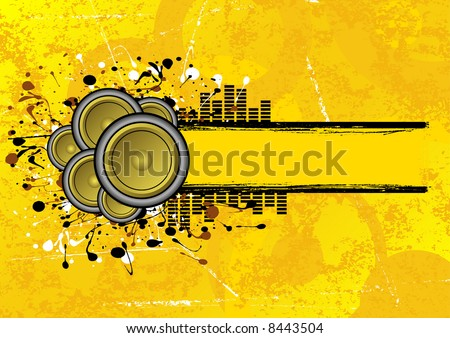 collection of speakers set on a grunge text banner - stock photo