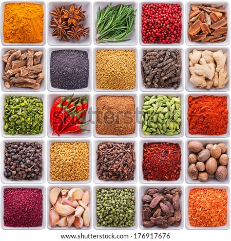 collection of spices and herbs in ceramic bowls isolated on white background - stock photo