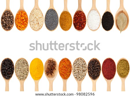 Collection of 18 spices on a wooden spoon. isolated on a white background - stock photo